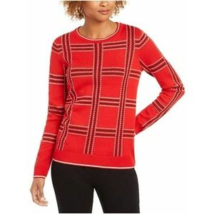 Red Crew Neck Sweater Plaid Long Sleeves Sz XS